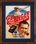 "Baseball Collectibles:Others, Circa 1930's Johnny Mize ""Granger Pipe Tobacco"" AdvertisingSign...."
