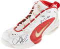 Basketball Collectibles:Others, 1996 Dennis Rodman Game Worn, Signed Chicago Bulls Sneaker - Worn 2/7 Vs. Warriors....