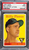 Baseball Cards:Singles (1950-1959), 1958 Topps Billy Pierce Yellow TM. Letters #50 PSA Mint 9 - PopTwo, None Higher!...