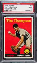 Baseball Cards:Singles (1950-1959), 1958 Topps Tim Thompson Yellow Name #57 PSA Mint 9 - Pop Three,None Higher!...