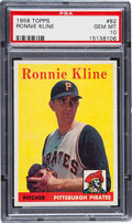 Baseball Cards:Singles (1950-1959), 1958 Topps Ronnie Kline #82 PSA Gem Mint 10 - Pop One!...