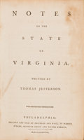 Books:Americana & American History, Thomas Jefferson. Notes on the State of Virginia.Philadelphia: Printed and Sold by Prichard and Hall, 1788. Scarce...