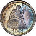 Seated Quarters, 1851 25C MS65 NGC. Briggs 1-B....