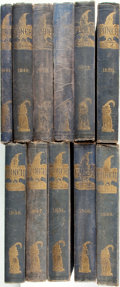 Books:Periodicals, [Featured Lot]. [Bound Periodicals]. The Complete First ElevenYears of Punch, in Original Bindings. Punch o... (Total:11 Items)