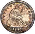 Proof Seated Quarters, 1845 25C PR65 NGC. Briggs 5-E....