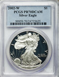 Modern Bullion Coins, 2002-W $1 Silver Eagle PR70 Deep Cameo PCGS. PCGS Population (2217). NGC Census: (4105). Numismedia Wsl. Price for problem...