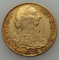 Colombia, Colombia: Charles III gold 4 Escudos 1773 P-JS XF - Mounted,...