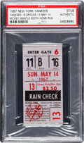 Baseball Collectibles:Tickets, 1967 Mickey Mantle 500th Home Run Ticket Stub, PSA Authentic....