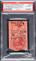 """Baseball Collectibles:Tickets, 1948 """"The Babe Bows Out"""" Ticket Stub from Ruth's Final YankeeStadium Appearance. ..."""