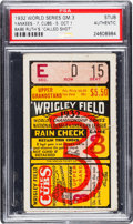 "Baseball Collectibles:Tickets, 1932 World Series Babe Ruth ""Called Shot"" Game Ticket Stub, PSAAuthentic...."