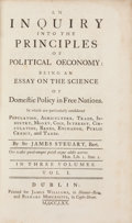 Books:Business & Economics, Sir James Steuart. An Inquiry into the Principles of PoliticalOeconomy; being an Essay on the Science of Domestic...(Total: 3 Items)
