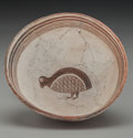 American Indian Art:Pottery, A Mimbres Pictorial Black-On-White Bowl. c. 1000 - 1200 AD...