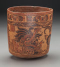 Pre-Columbian:Ceramics, Rare Elaborate Ulua Valley Maya Vase with Extravagant Images. c.600 - 900 AD. Honduras...