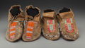 American Indian Art:Beadwork and Quillwork, Two Pairs of Hidatsa Quilled Hide Moccasins. c. 1900. ... (Total: 4Items)
