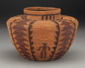 American Indian Art:Baskets, A Yokuts Polychrome Pictorial Coiled Bottleneck Jar . c. 1900...
