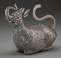 Silver Holloware, Continental:Holloware, A Cambodian Silver Elephant-Form Betel Box, pre-1970. Marks: (Khmermark to underside). 9-1/2 inches high x 12-1/2 inches wi...