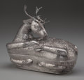 Silver Holloware, Continental:Holloware, A Cambodian Silver Stag-Form Betel Leaf Box, pre-1970. Marks:T900. 8-1/4 inches high x 9 inches wide (21.0 x 22.9 cm)....