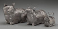 Silver Holloware, Continental:Holloware, Three Cambodian Figural Silver Betel Boxes: Cat; Goat;Monkey, pre-1970. Marks to goat: (effaced mark), CAMBOD...(Total: 3 Items)