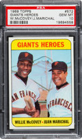 Baseball Cards:Singles (1960-1969), 1969 Topps Giants Heroes McCovey/Marichal #572 PSA Gem Mint 10 -Pop Two! ...