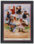 Baseball Collectibles:Others, Catching Greats Multi Signed Giclee....