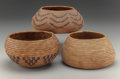 American Indian Art:Baskets, Three Mission Coiled Jars . c. 1920... (Total: 3 Items)