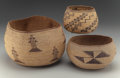 American Indian Art:Baskets, Three Northern California Twined Bowls . c. 1890 - 1910... (Total:3 Items)
