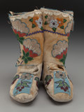 American Indian Art:Beadwork and Quillwork, A Pair of Plateau Woman's Beaded Hide Moccasins. c. 1910... (Total:2 )