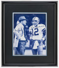 Football Collectibles:Photos, Tom Landry and Roger Staubach Multi Signed Oversized Photograph....