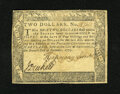 Colonial Notes:Maryland, Maryland December 7, 1775 $2 Very Fine. A moisture spot is located on the top half of this note....