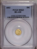 California Fractional Gold: , 1853 50C Liberty Round 50 Cents, BG-430, R.3, MS63 PCGS. PCGSPopulation (38/22). (#10466)...