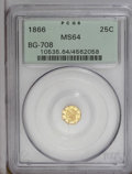 California Fractional Gold: , 1866 25C Liberty Octagonal 25 Cents, BG-708, High R.4, MS64 PCGS.PCGS Population (16/11). (#10535)...