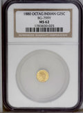 California Fractional Gold: , 1880 25C Indian Octagonal 25 Cents, BG-799Y, High R.4, MS62 NGC.PCGS Population (16/39). (#10651)...