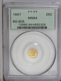 California Fractional Gold: , 1867 25C Liberty Round 25 Cents, BG-805, Low R.5, MS64 PCGS. PCGSPopulation (15/9). (#10666)...