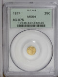 California Fractional Gold: , 1874 25C Indian Round 25 Cents, BG-875, High R.4, MS64 PCGS. PCGSPopulation (28/4). (#10736)...