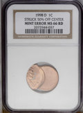 Errors: , 1998-D 1C Lincoln Cent--Struck 50% Off Center MS66 Red NGC. PCGSPopulation (94/132). (#3151)...