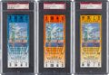 Football Collectibles:Tickets, 2001 Super Bowl XXXV PSA Mint 9 Full Tickets - Blue, Orange and Yellow Variations....