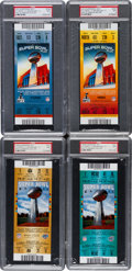 Football Collectibles:Tickets, 2008 and 2012 Super Bowl XLII (Gold and Teal) and XLVI (Blue and Red) PSA Mint 9 Full Tickets (Giants Over Pats Victories)....