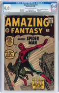 Silver Age (1956-1969):Superhero, Amazing Fantasy #15 (Marvel, 1962) CGC VG 4.0 Light tan tooff-white pages....