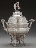 Silver Holloware, American:Other , A Meriden Brittania Silver-Plated Covered Butter Dish with Lion andShield Finial, Meriden, Connecticut, circa 1878. Marks: ...