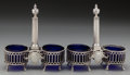 Silver Holloware, French:Holloware, A Pair of Louis XV French Silver Double Salts with Cobalt GlassLiners, Paris, France, 19th century. Marks: (script A), (cro...(Total: 6 Items)