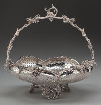 An American Silver-Plated Reticulated Grape Basket, circa 1890 11 inches high x 11 inches diameter (27.9 x 27.9 cm
