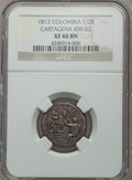 Colombia, Colombia: Cartagena 1/2 Real 1812 XF40 Brown NGC,...