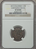 Colombia, Colombia: Cartagena 1/2 Real 1813 VF30 Brown NGC,...