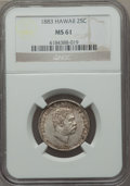 Coins of Hawaii: , 1883 25C Hawaii Quarter MS61 NGC. NGC Census: (62/844). PCGSPopulation (55/1139). Mintage: 500,000. ...