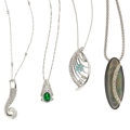 Estate Jewelry:Lots, Multi-Stone, Diamond, Platinum, White Gold Pendant-Necklaces. ...(Total: 4 Items)