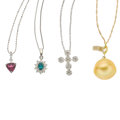 Estate Jewelry:Lots, Multi-Stone, Cultured Pearl, Diamond, Platinum, GoldPendant-Necklaces. ... (Total: 4 Items)