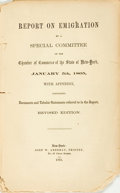 Books:Americana & American History, [New York State]. Report on Emigration by a Special Committee ofthe Chamber of Commerce of the State of New-York, Janua...