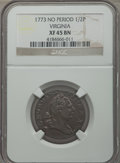 1773 1/2P Virginia Halfpenny, No Period XF45 NGC. NGC Census: (3/39). PCGS Population (9/95). ...(PCGS# 243)