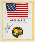 Explorers:Space Exploration, Apollo 13 Flown American Flag on a Signed Certificate Directly fromthe Personal Collection of Mission Commander James Lovell,...