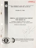 Explorers:Space Exploration, Gemini 12 Orbital and Rendezvous Report Book Directly fromthe Personal Collection of Mission Commander James Love...